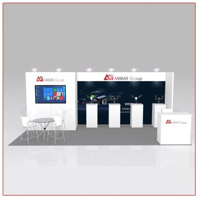 10x20 Trade Show Booth Rental Package 221 Front View - LV Exhibit Rentals in Las Vegas