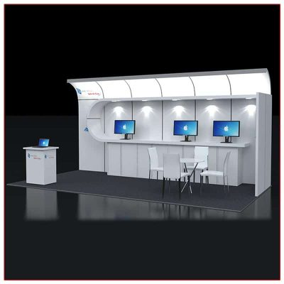10x20 Trade Show Booth Rental Package 223 Angle View - LV Exhibit Rentals in Las Vegas