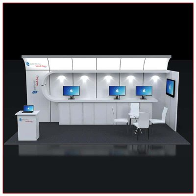 10x20 Trade Show Booth Rental Package 223 Front View - LV Exhibit Rentals in Las Vegas