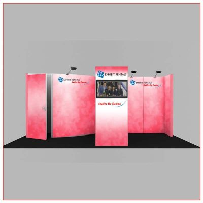 10x20 Trade Show Booth Rental Package 224 Front View - LV Exhibit Rentals in Las Vegas