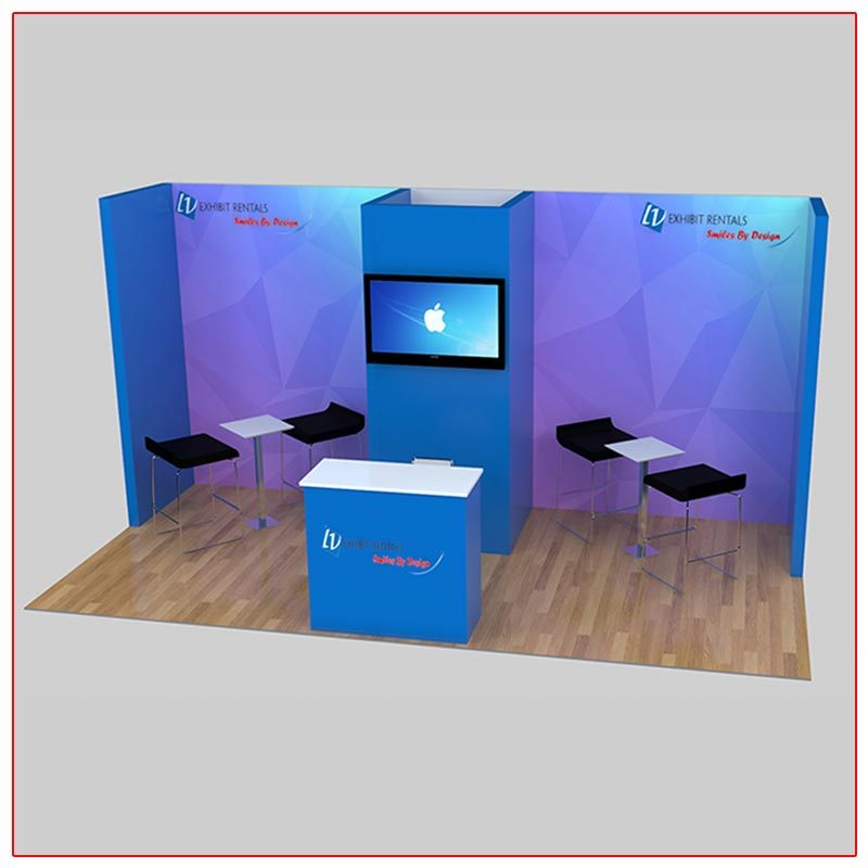 10x20 Trade Show Booth Rental Package 225 Angle View - LV Exhibit Rentals in Las Vegas