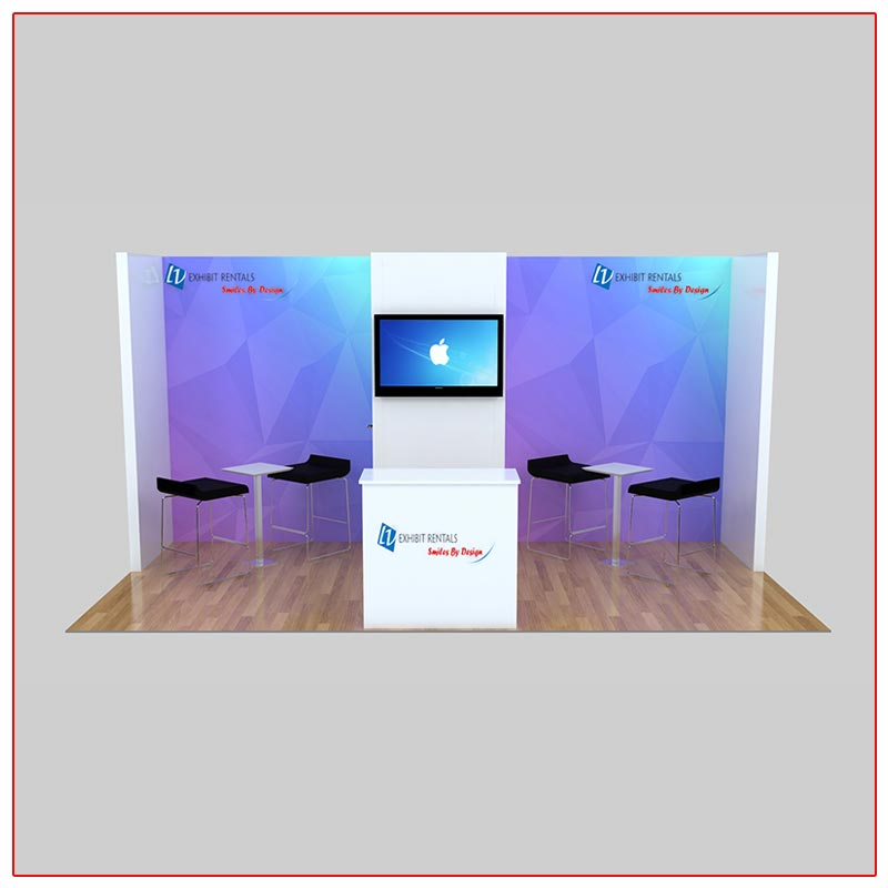 10x20 Trade Show Booth Rental Package 225 Front View - LV Exhibit Rentals in Las Vegas