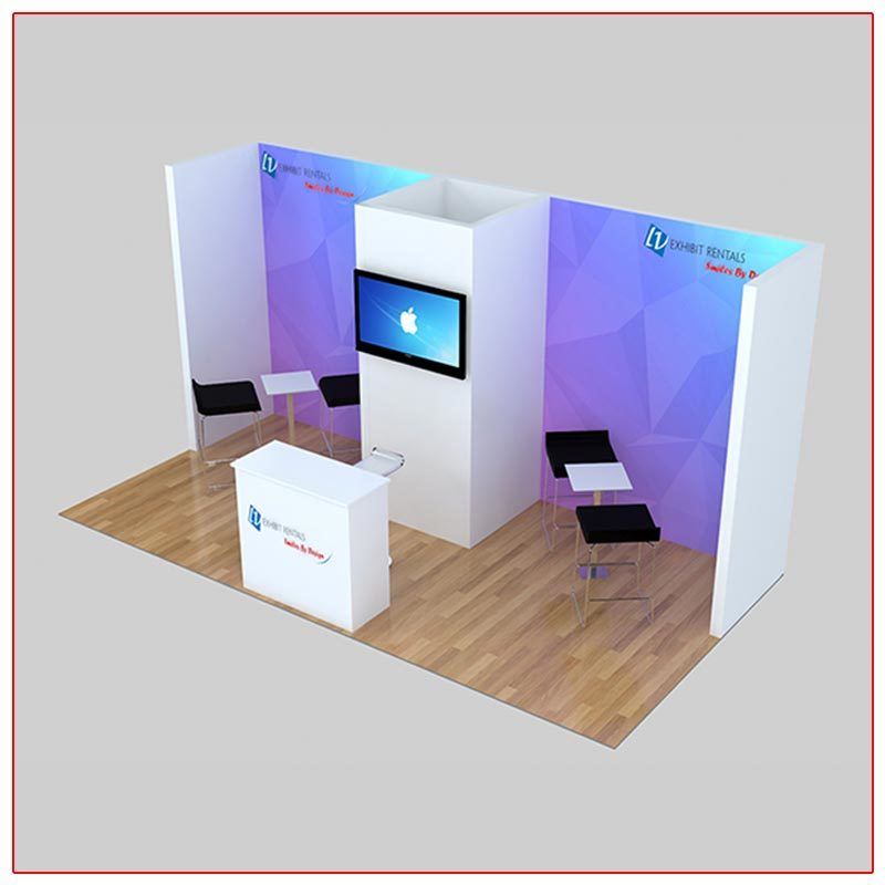 10x20 Trade Show Booth Rental Package 225 Top-Angle View - LV Exhibit Rentals in Las Vegas