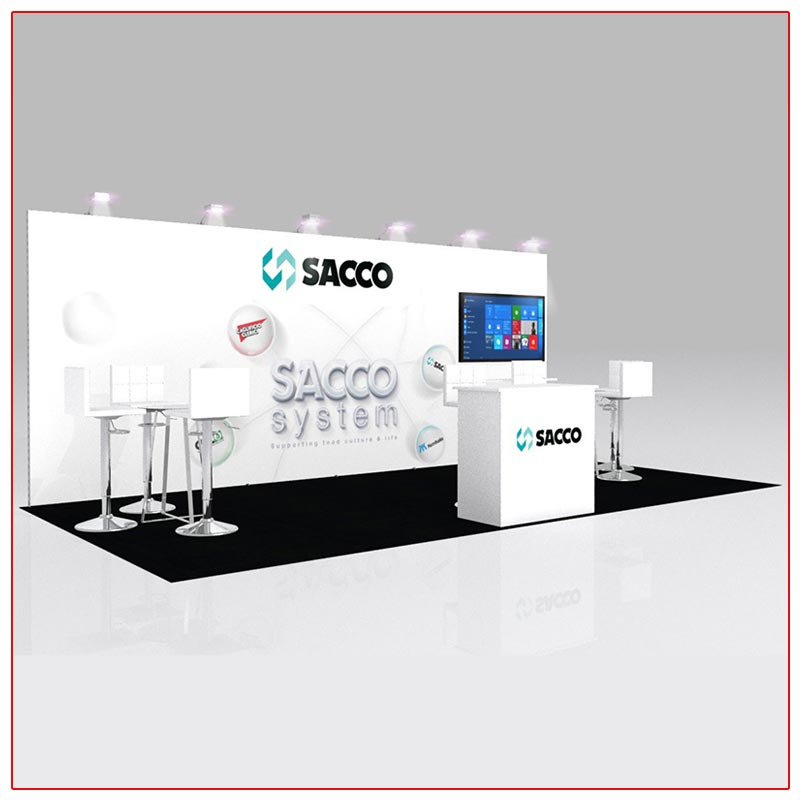 10x20 Trade Show Booth Rental Package 228 Angle View - LV Exhibit Rentals in Las Vegas