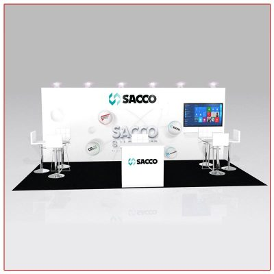 10x20 Trade Show Booth Rental Package 228 Front View - LV Exhibit Rentals in Las Vegas