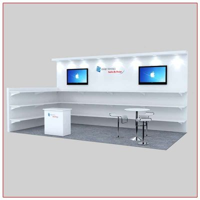 10x20 Trade Show Booth Rental Package 229 Angle Close-Up - LV Exhibit Rentals in Las Vegas
