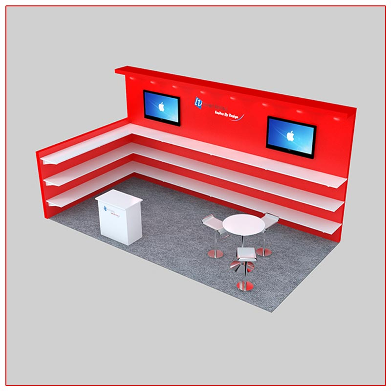 10x20 Trade Show Booth Rental Package 229 Angle View - LV Exhibit Rentals in Las Vegas