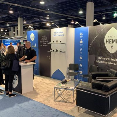 10x20 Trade Show Booth Rental Package 230 - Made by Hemp - White Label 2020 - LV Exhibit Rentals in Las Vegas