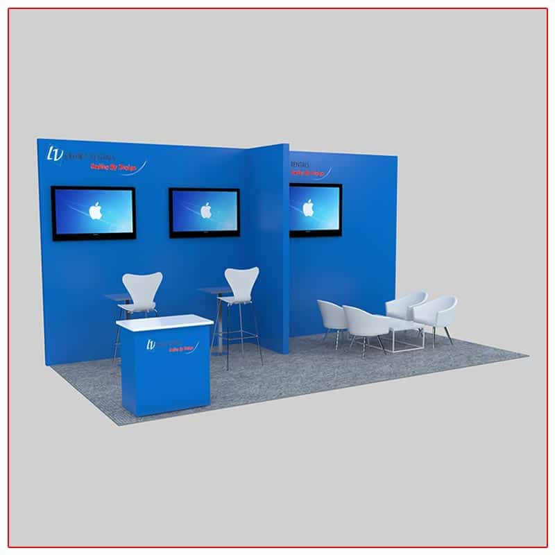 10x20 Trade Show Booth Rental Package 231 Angle View - LV Exhibit Rentals in Las Vegas