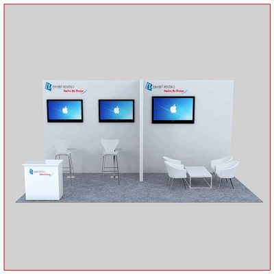 10x20 Trade Show Booth Rental Package 231 Front View - LV Exhibit Rentals in Las Vegas