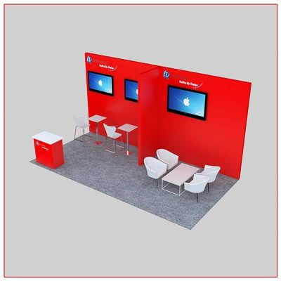 10x20 Trade Show Booth Rental Package 231 Top-Angle View - LV Exhibit Rentals in Las Vegas