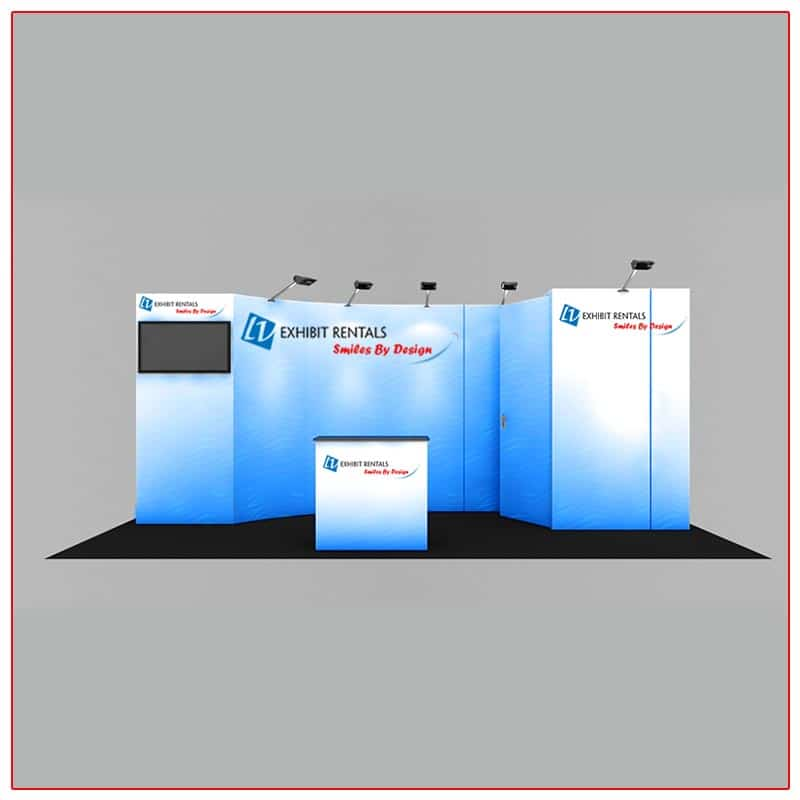10x20 Trade Show Booth Rental Package 232 Front View - LV Exhibit Rentals in Las Vegas