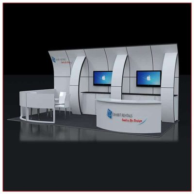 10x20 Trade Show Booth Rental Package 233 Front Angle View - LV Exhibit Rentals in Las Vegas