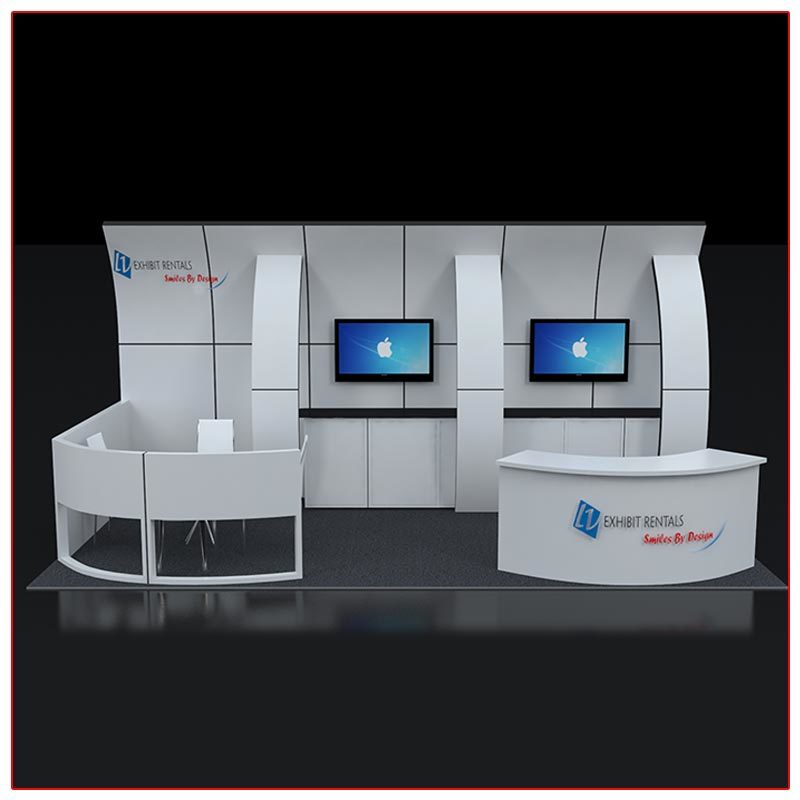 10x20 Trade Show Booth Rental Package 233 Front View - LV Exhibit Rentals in Las Vegas