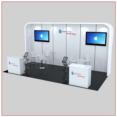 10x20 Trade Show Booth Rental Package 235 Front Angled View - LV Exhibit Rentals in Las Vegas