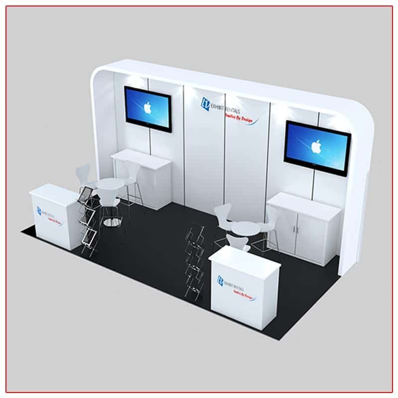 10x20 Trade Show Booth Rental Package 235A Angle View - LV Exhibit Rentals in Las Vegas