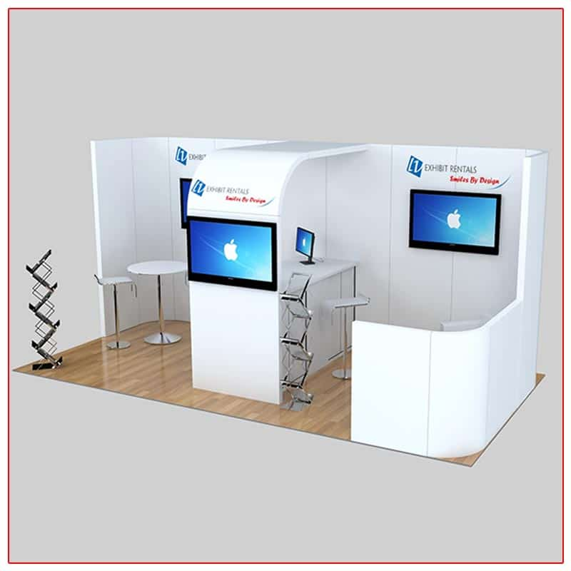 10x20 Trade Show Booth Rental Package 237 Front Angle View - LV Exhibit Rentals in Las Vegas