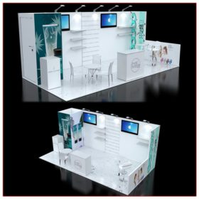 10x20 Trade Show Booth Rental Package 238A Angle Views - LV Exhibit Rentals in Las Vegas