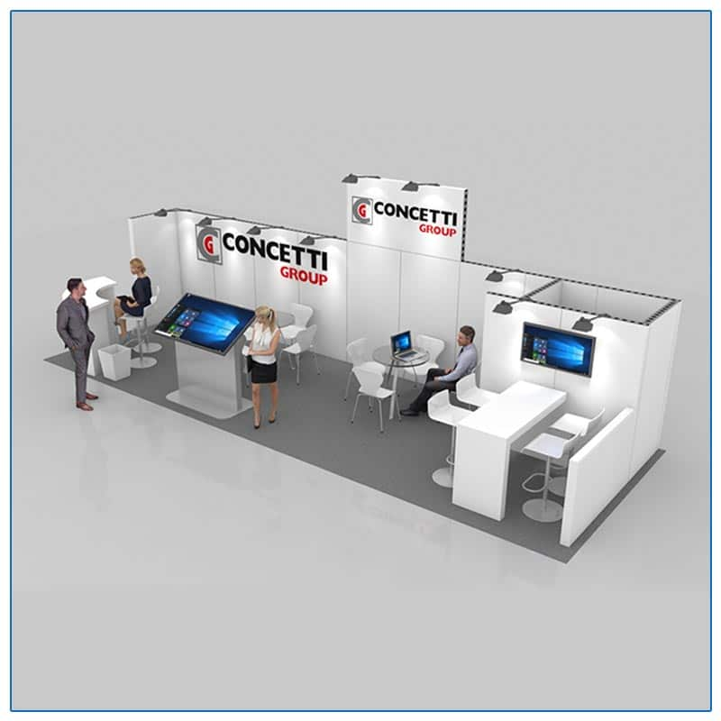 10x30 Trade Show Booth Rental Package 300 Angle View - LV Exhibit Rentals in Las Vegas