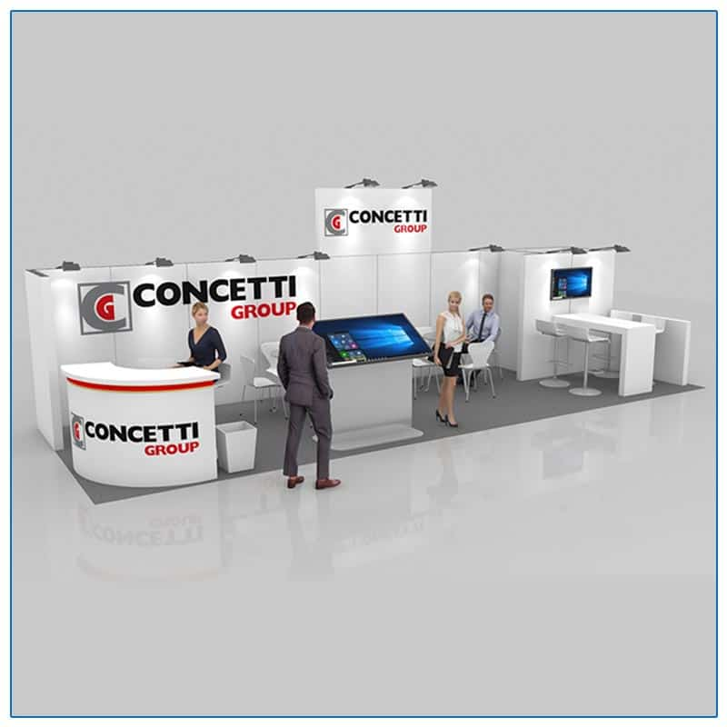 10x30 Trade Show Booth Rental Package 300 Front Angled View - LV Exhibit Rentals in Las Vegas