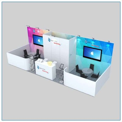 10x30 Trade Show Booth Rental Package 301 Angle View - LV Exhibit Rentals in Las Vegas