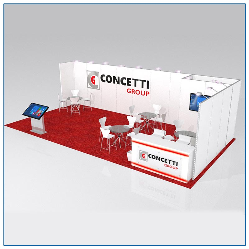 10x30 Trade Show Booth Rental Package 302 Angle View - LV Exhibit Rentals in Las Vegas