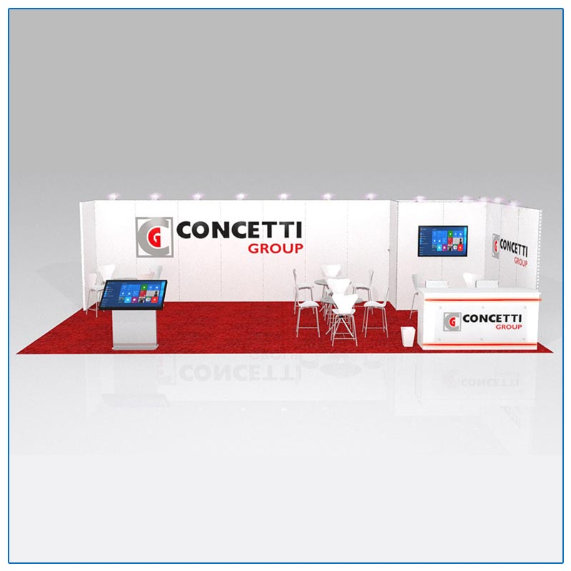 10x30 Trade Show Booth Rental Package 302 Front View - LV Exhibit Rentals in Las Vegas