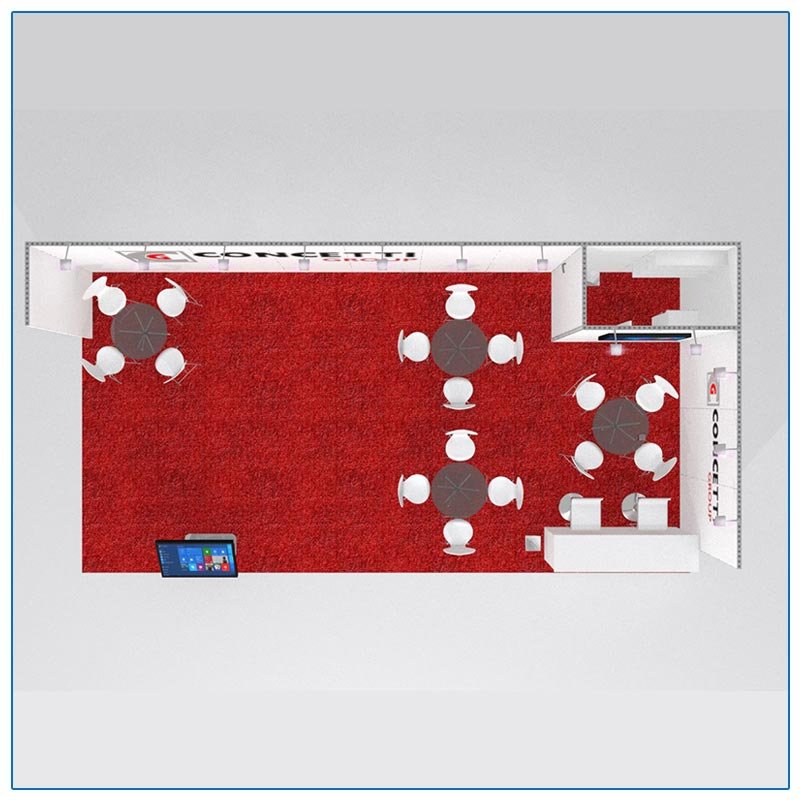 10x30 Trade Show Booth Rental Package 302 Top-Down View - LV Exhibit Rentals in Las Vegas