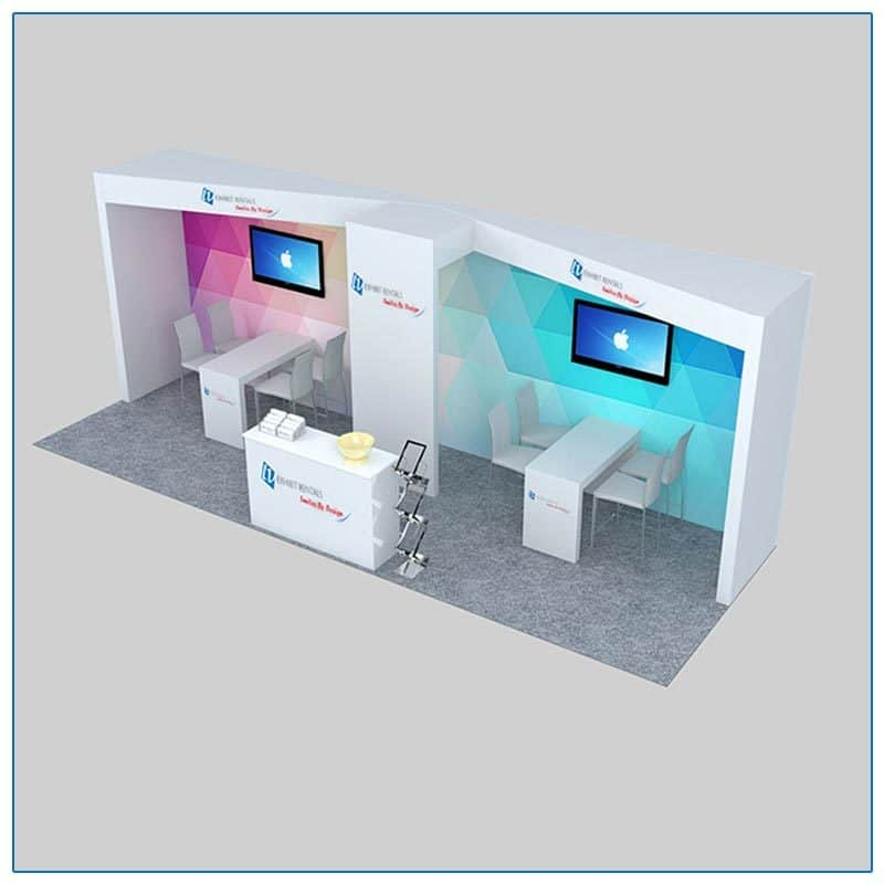 10x30 Trade Show Booth Rental Package 303 Angle View - LV Exhibit Rentals in Las Vegas
