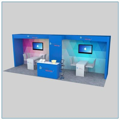 10x30 Trade Show Booth Rental Package 303 Front Angle View - LV Exhibit Rentals in Las Vegas