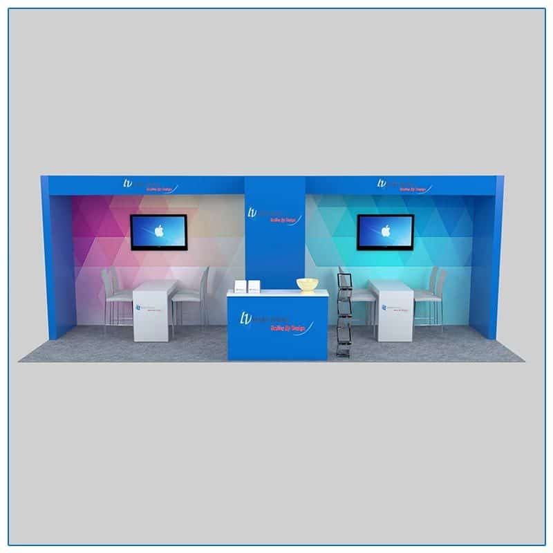 10x30 Trade Show Booth Rental Package 303 Front View - LV Exhibit Rentals in Las Vegas