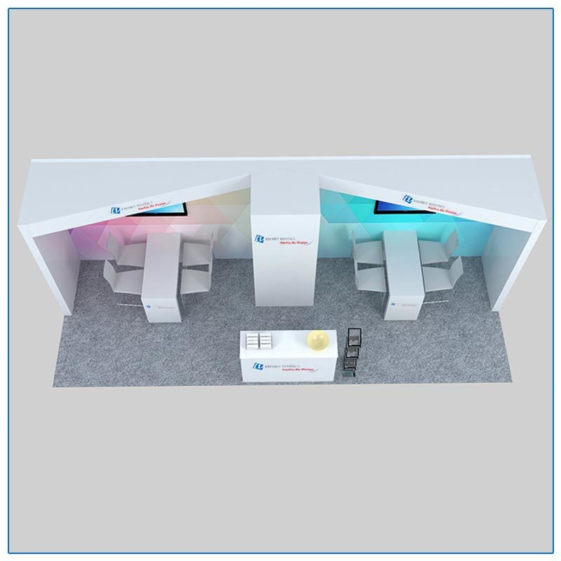 10x30 Trade Show Booth Rental Package 303 Top-Down View - LV Exhibit Rentals in Las Vegas