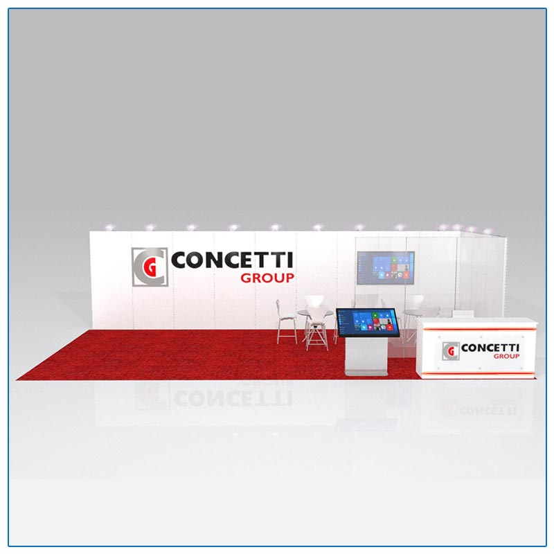 10x30 Trade Show Booth Rental Package 304 Front View - LV Exhibit Rentals in Las Vegas