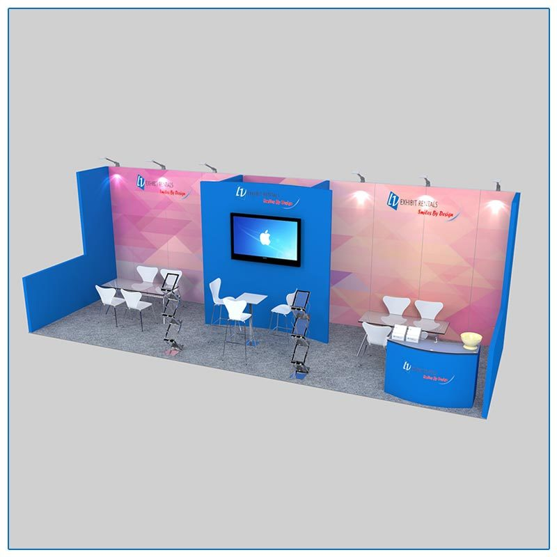 10x30 Trade Show Booth Rental Package 305 Angle View - LV Exhibit Rentals in Las Vegas