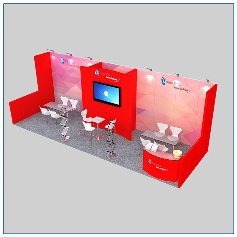 10x30 Trade Show Booth Rental Package 305 Top-Angle View - LV Exhibit Rentals in Las Vegas