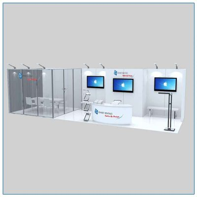 10x30 Trade Show Booth Rental Package 306 Front Angle View - LV Exhibit Rentals in Las Vegas