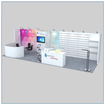 10x30 Trade Show Booth Rental Package 307 Angle View - LV Exhibit Rentals in Las Vegas