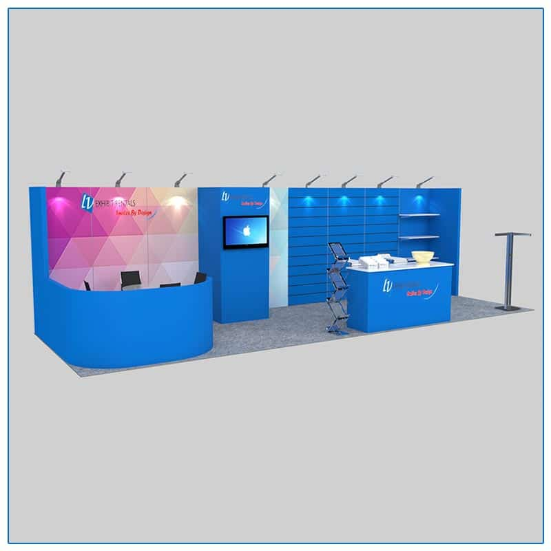 10x30 Trade Show Booth Rental Package 307 Front Angle View - LV Exhibit Rentals in Las Vegas