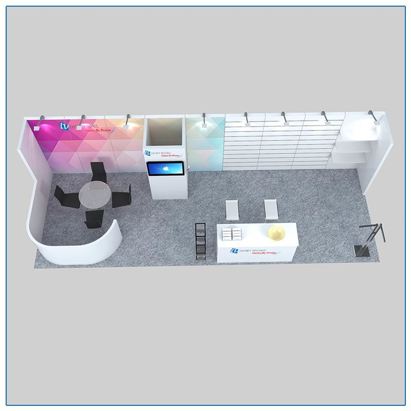 10x30 Trade Show Booth Rental Package 307 Top-Down View - LV Exhibit Rentals in Las Vegas