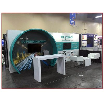 Aryaka - 10x20 Trade Show Booth Rental Package 204 Front View - LV Exhibit Rentals in Las Vegas