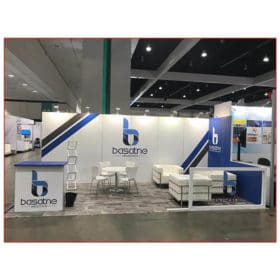 Basatne - 10x20 Trade Show Booth Rental Package 203 - Front View - LV Exhibit Rentals in Las Vegas