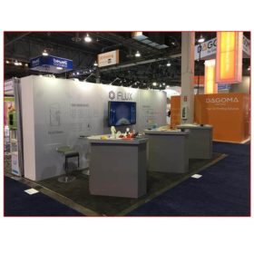 Flux - 10x20 Trade Show Booth Rental Package 208 Custom Counters - LV Exhibit Rentals in Las Vegas