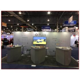 Flux - 10x20 Trade Show Booth Rental Package 208 Front View - LV Exhibit Rentals in Las Vegas