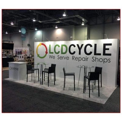 LCD Cycle - 10x20 Trade Show Booth Rental Package 210 Angle View- LV Exhibit Rentals in Las Vegas