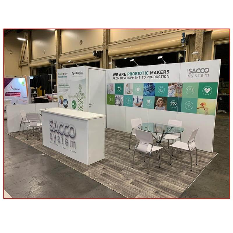Sacco System - 10x20 Trade Show Rental Package 213 Angle View - LV Exhibit Rentals in Las Vegas
