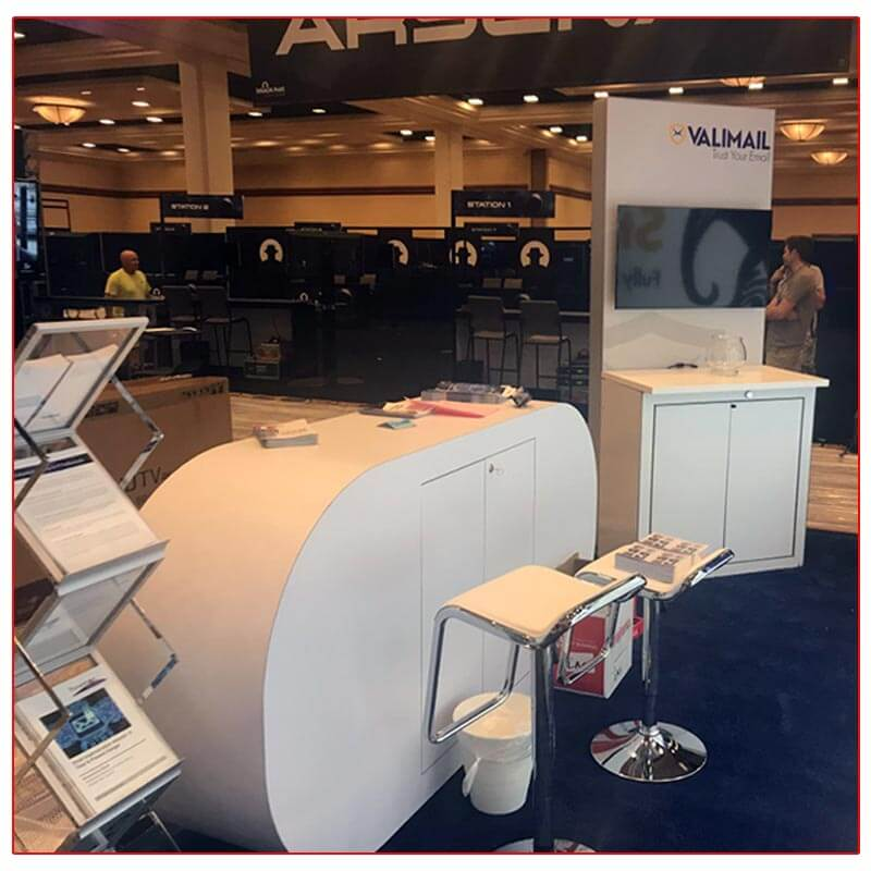 Valimail - 10x20 Trade Show Booth Rental Package 205 - Custom Reception Counter and Lightbox Kiosk - LV Exhibit Rentals in Las Vegas