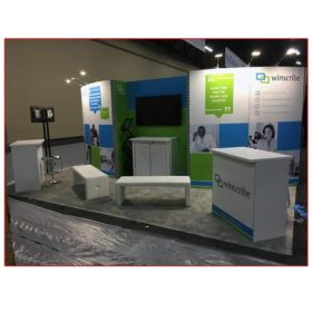 Winscribe - Angle View - 10x20 Trade Show Booth Rental Package 216 - LV Exhibit Rentals in Las Vegas