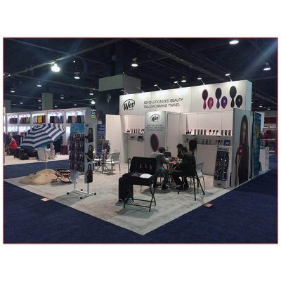20x20 Trade Show Booth Rental Package 400 - Angle View - LV Exhibit Rentals in Las Vegas