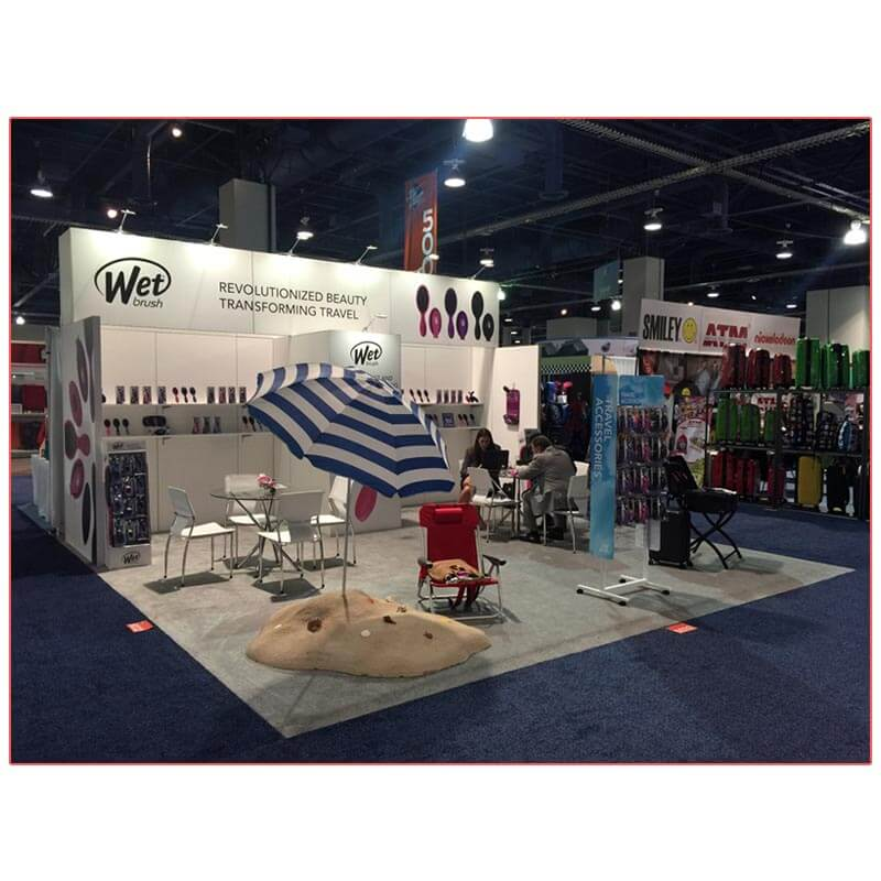20x20 Trade Show Booth Rental Package 400 - Front View - LV Exhibit Rentals in Las Vegas
