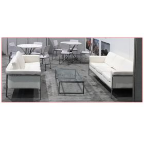 Amanda Sofa - White - Side View - Agora - LV Exhibit Rentals in Las Vegas